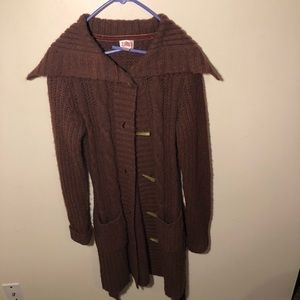 Mossimo Brown Maroon Button Down Cardigan Sweater